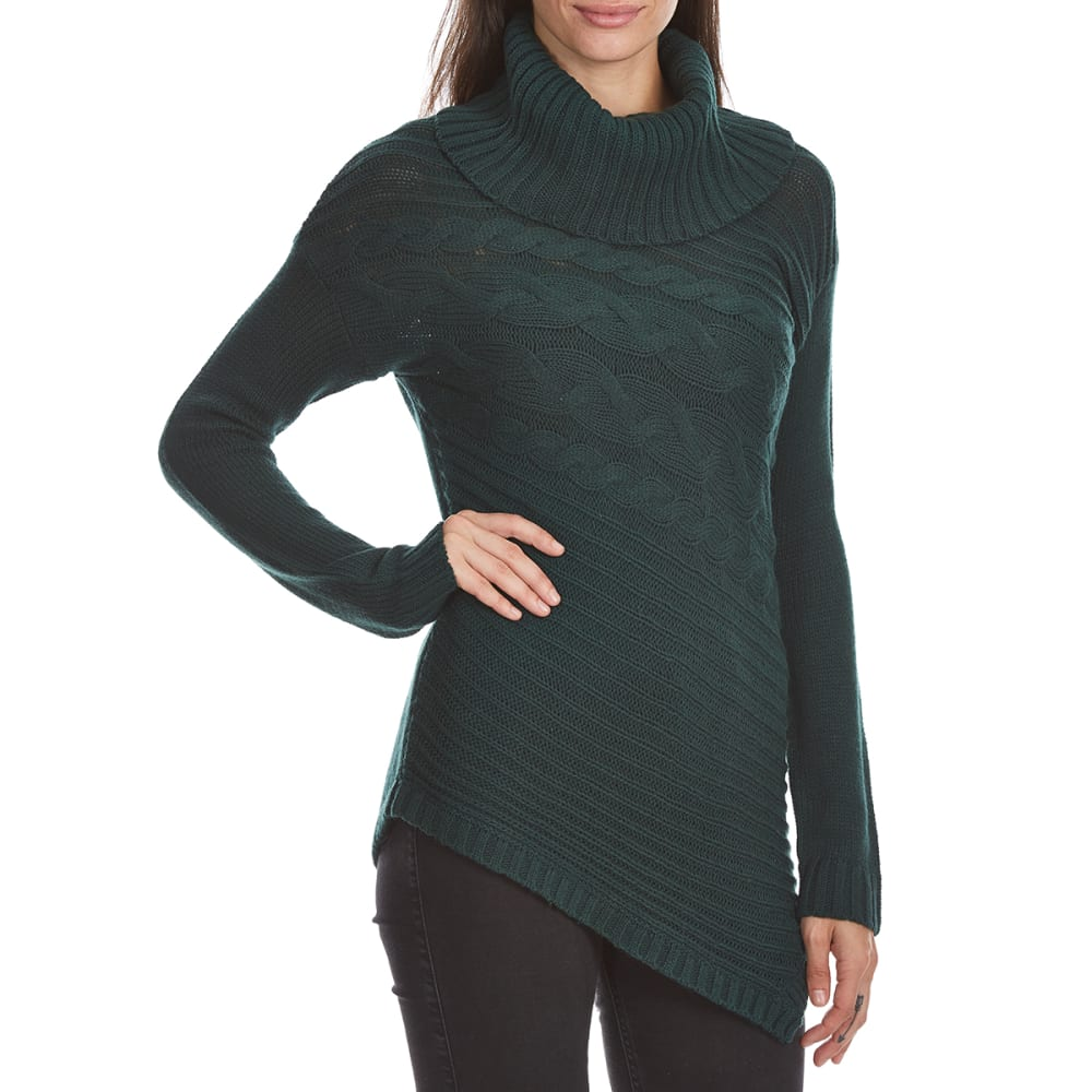 Absolutely Famous Women's Cowl Neck Asymmetrical Cable Front Long-Sleeve Sweater - Green, XL