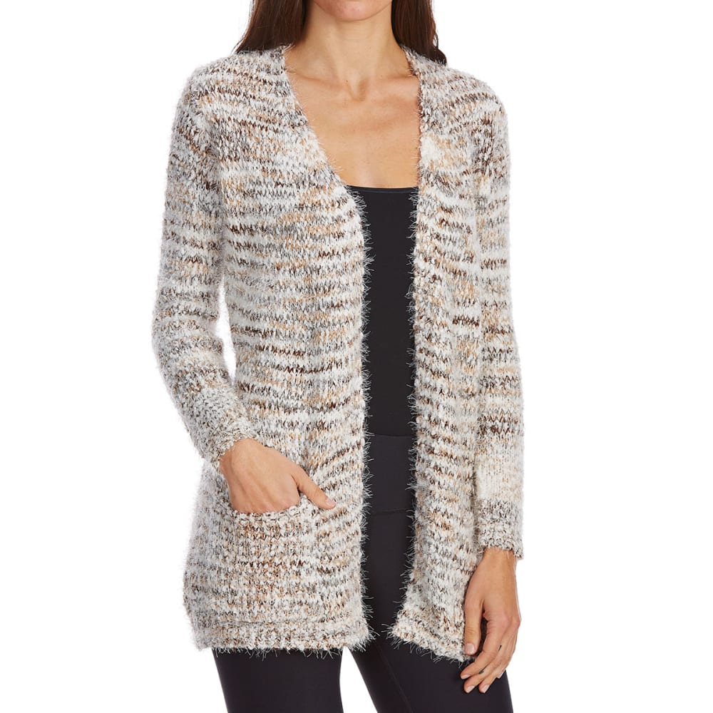 ABSOLUTELY FAMOUS Women's Popcorn Eyelash Open Cardigan - NATURAL COMBO