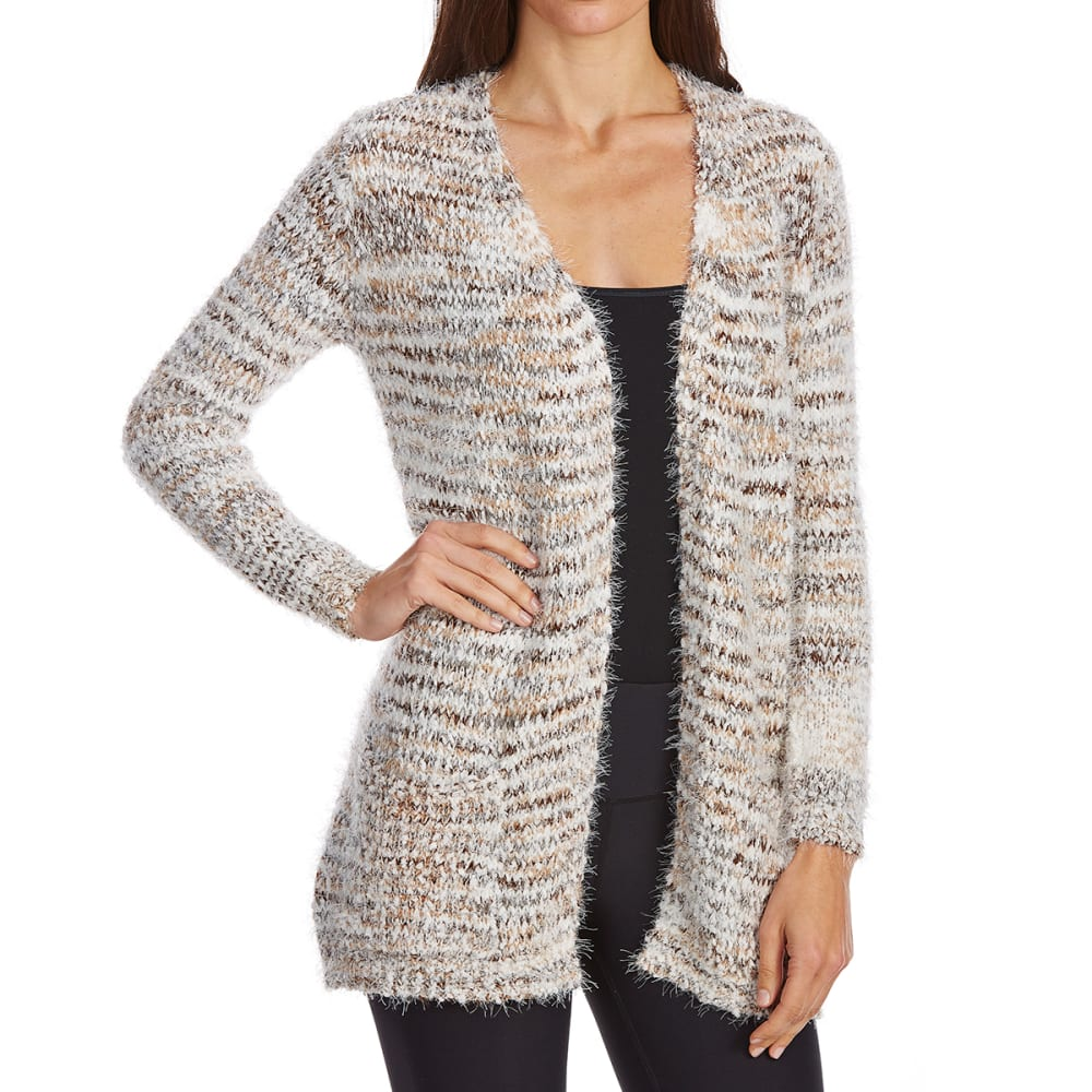 Absolutely Famous Women's Popcorn Eyelash Open Cardigan - Brown, S