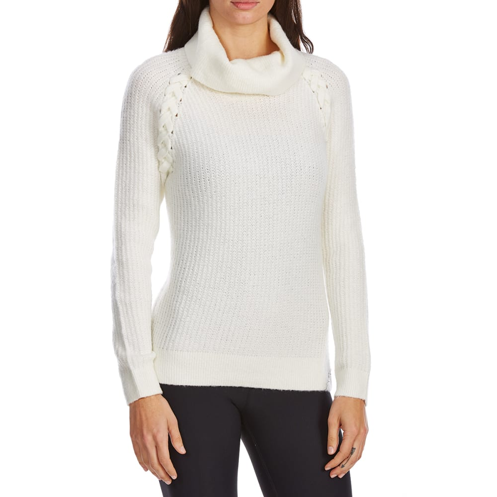 Absolutely Famous Women's Mossy Lace-Up Cowl Neck Long-Sleeve Sweater - White, L
