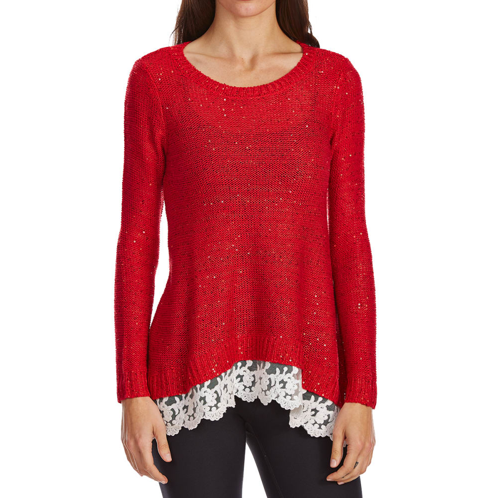 Absolutely Famous Women's Sequin Sharkbite Lace Hem Sweater - Red, S