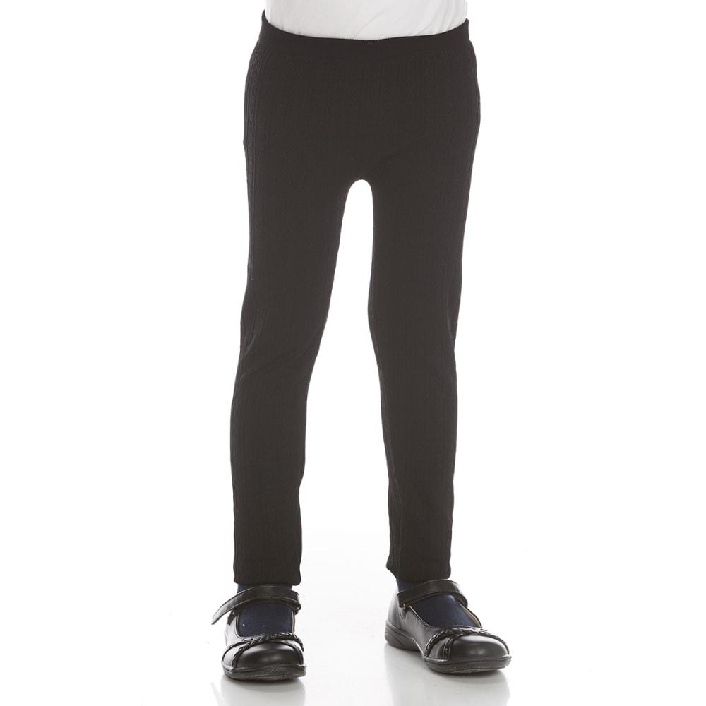 DREAM STAR Girls' Heart Cable Fleece-Lined Leggings - BLACK