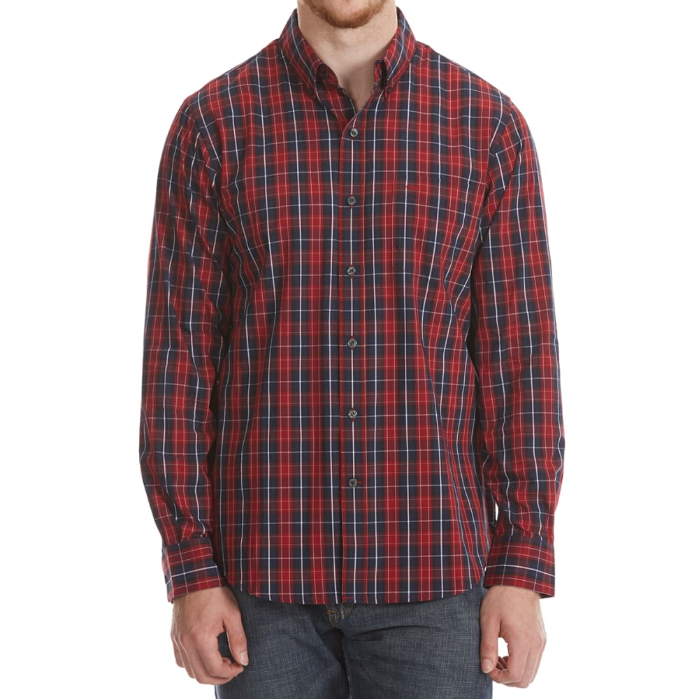 DOCKERS Men's Comfort Stretch Woven Long-Sleeve Shirt - BIKING RED PLD-0066