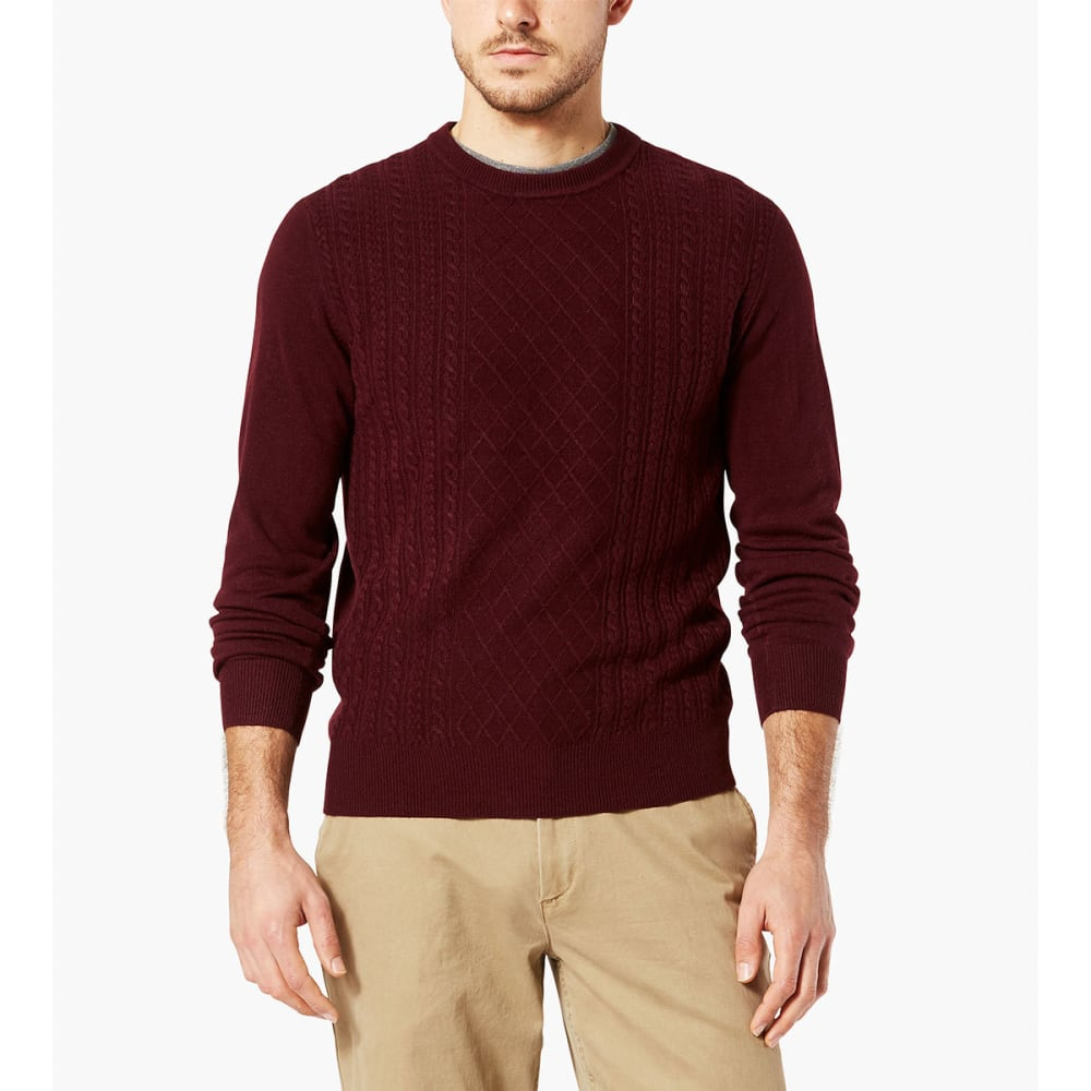 DOCKERS Men's Fisherman Crew Long-Sleeve Sweater - BURGUNDY-0004