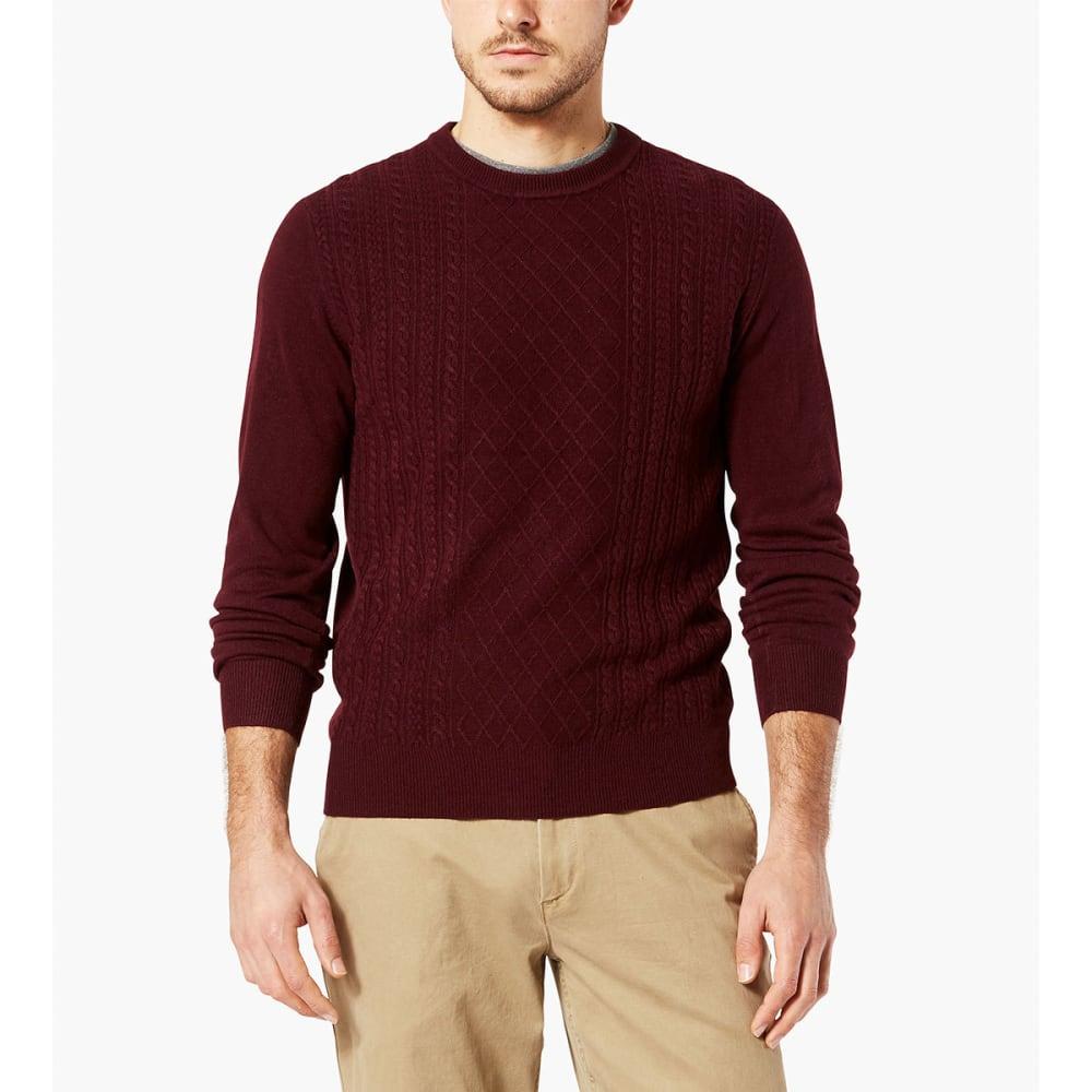 DOCKERS Men's Fisherman Crew Long-Sleeve Sweater - BURGUNDY-0004