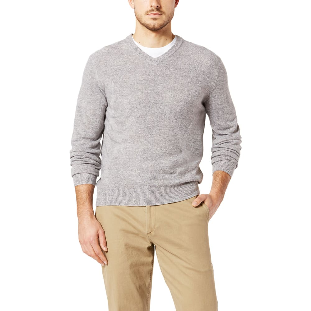 DOCKERS Men's Easy-Care V-Neck Sweater - GRISAILLE-0001