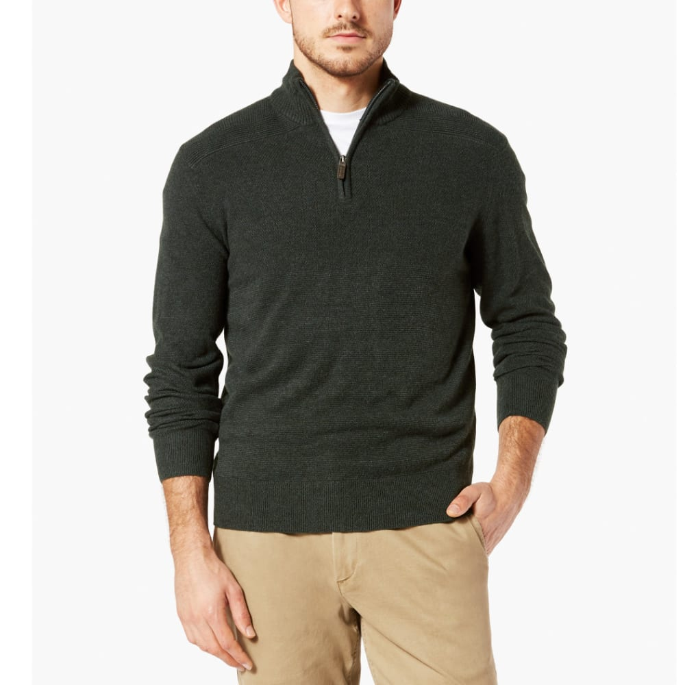 Dockers Men's  1/4-Zip Textured Long-Sleeve Sweater