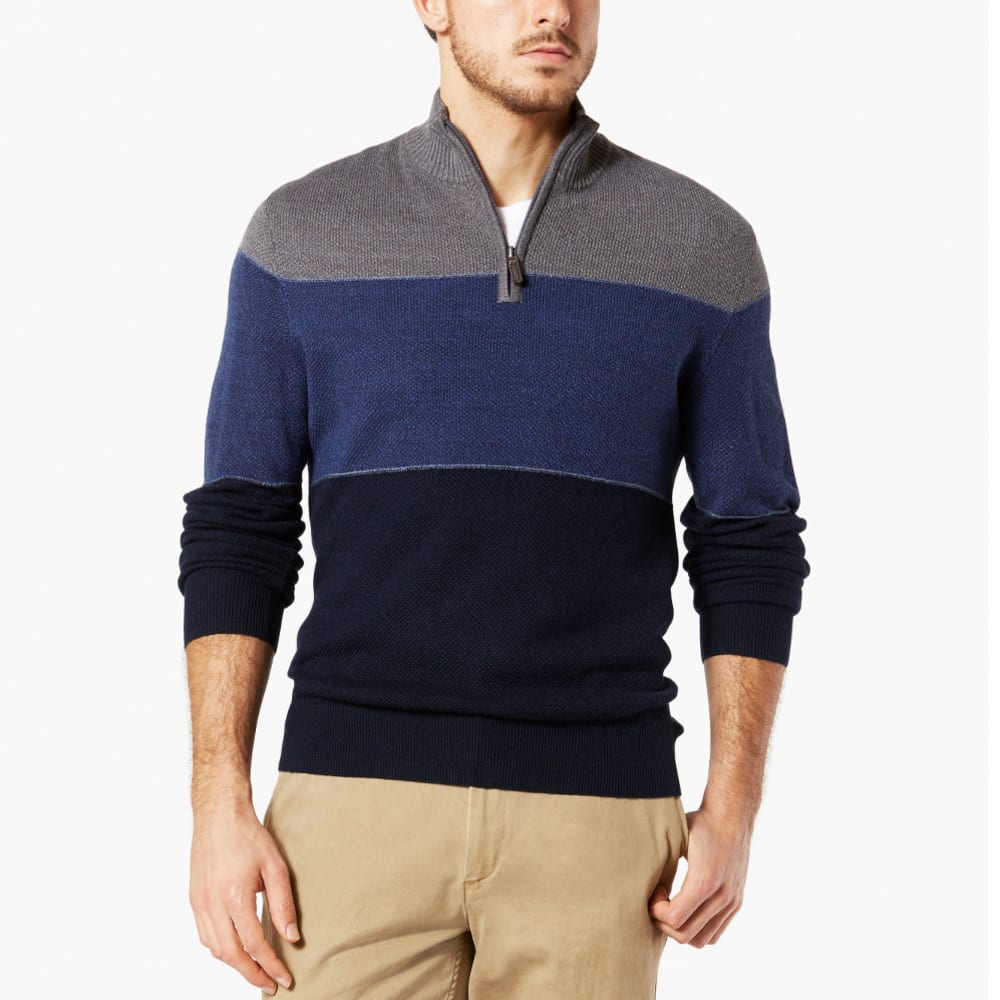DOCKERS Men's Quarter Zip Colorblock Sweater - NAVY-0000