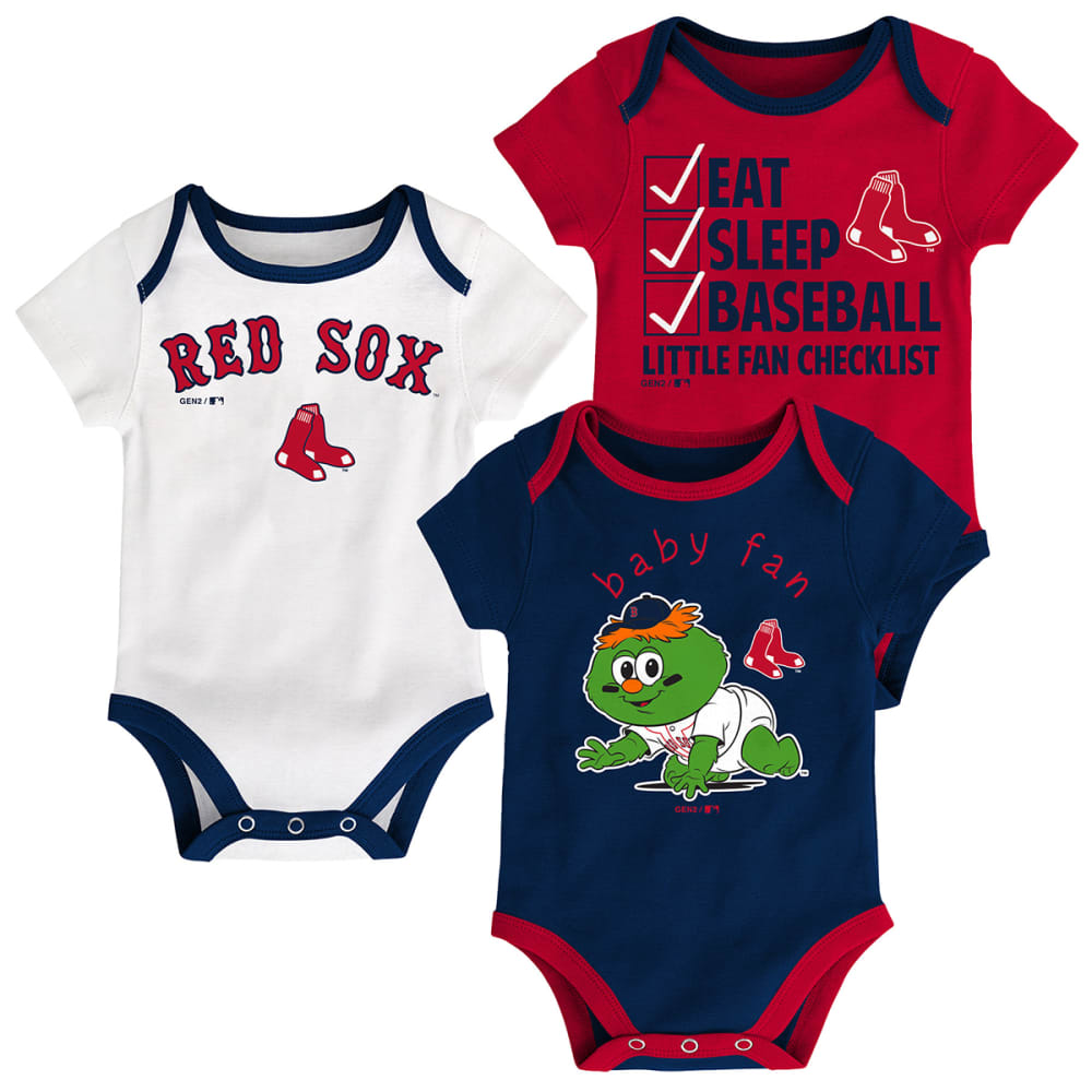BOSTON RED SOX Infant Boys' Play Ball Creeper Set, 3 Pack - NAVY