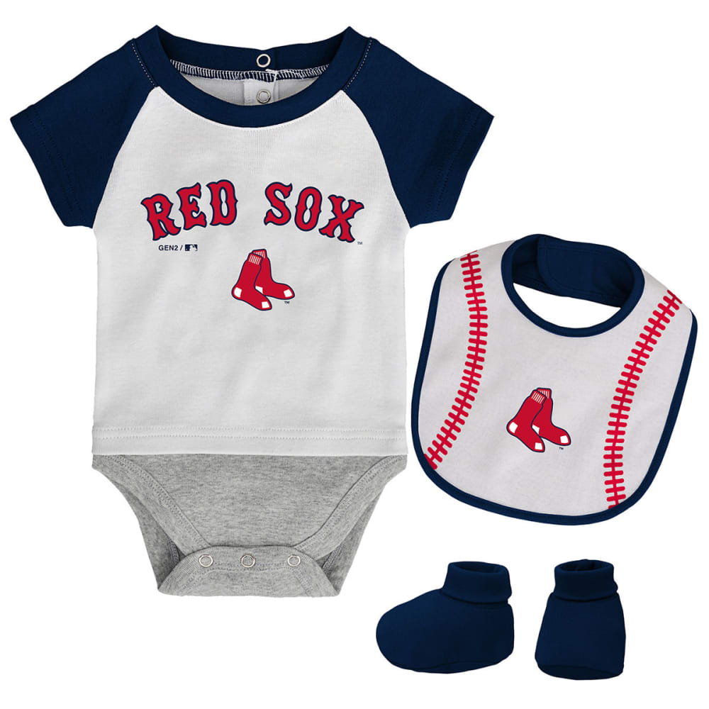 BOSTON RED SOX Infant Boys' Bib, Booties, and Creeper Set - NAVY
