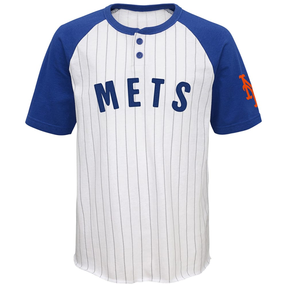 NEW YORK METS Boys' Day Game Two-Button Jersey Tee - WHITE