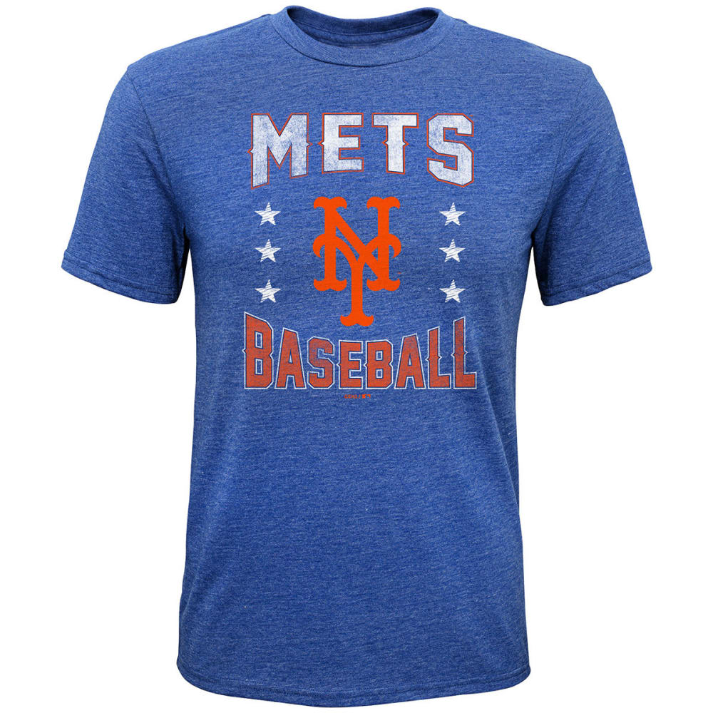 NEW YORK METS Boys' Triple Play Stars Tri-Blend Short-Sleeve - ROYAL BLUE