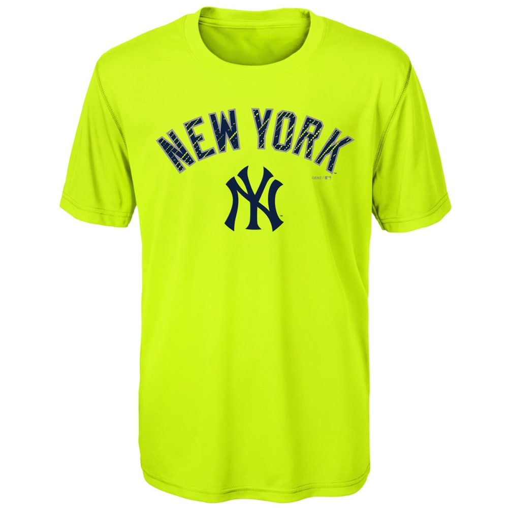 NEW YORK YANKEES Big Boys' Glowing Game Short-Sleeve Tee - LIME