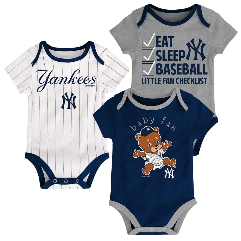 NEW YORK YANKEES Infant Boys' Play Ball Creeper Set, 3 Pack - NAVY