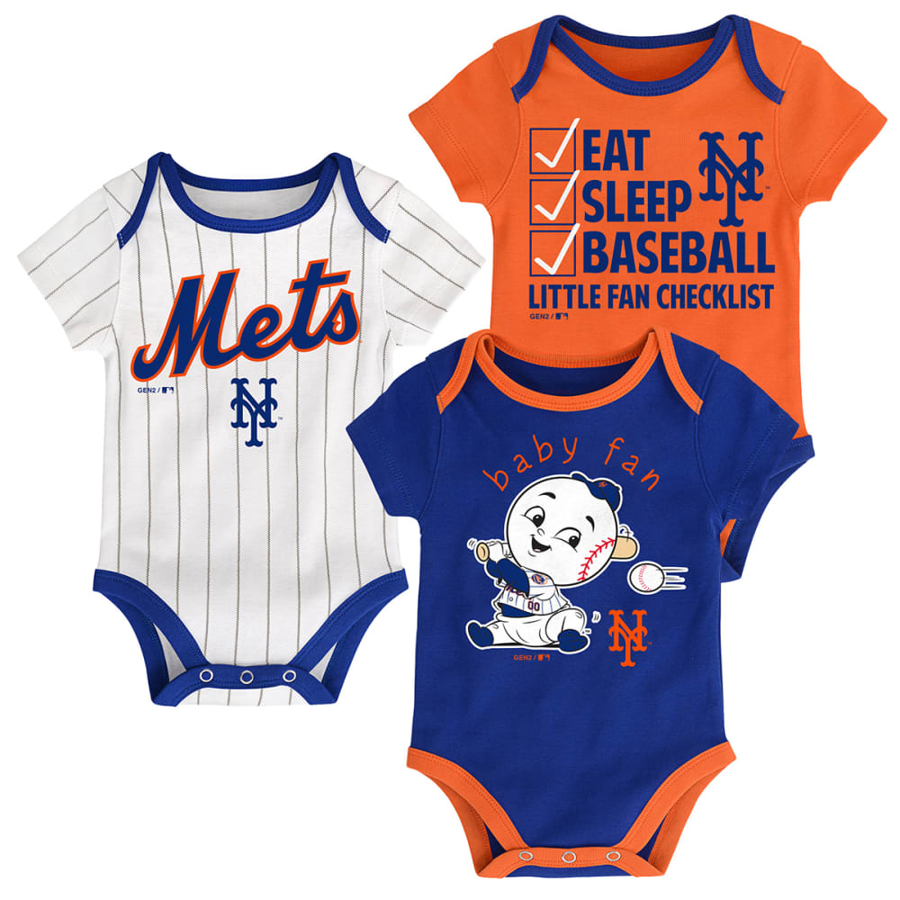 NEW YORK METS Infant Boys' Play Ball Creeper Set, 3-Pack - ROYAL BLUE