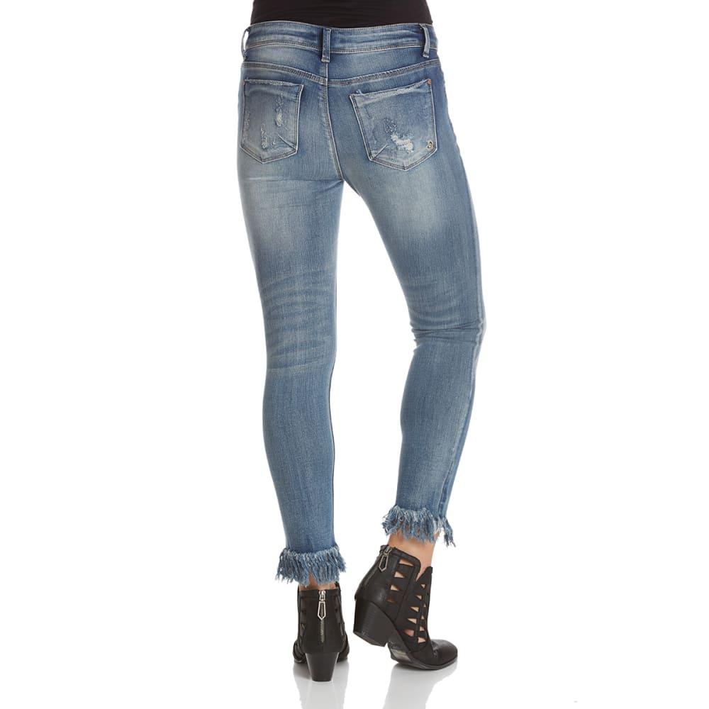 INDIGO REIN Juniors' Long Fray Hem Skinny Jeans - COOPER