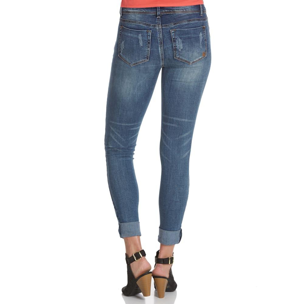 INDIGO REIN Juniors' Rolled Anklet Destructed Jeans - GLEN