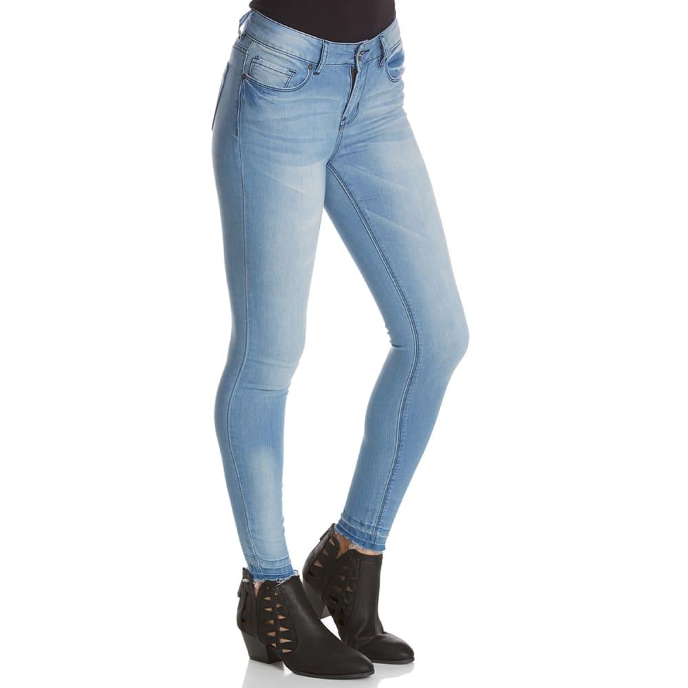 INDIGO REIN Juniors' Released Fray Hem Skinny Jeans - C3-LT WASH