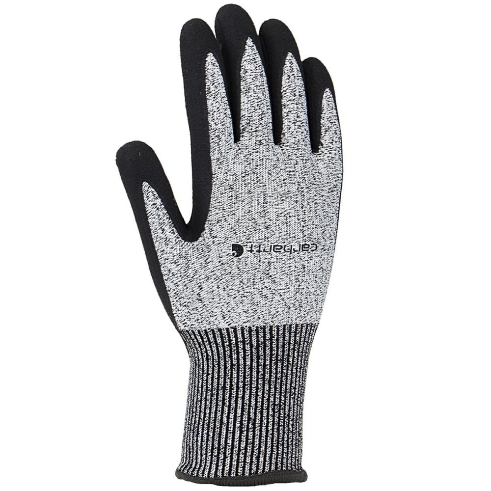 CARHARTT Men's Cut Resistant Sandy Nitrile Grip Work Gloves - BLACK