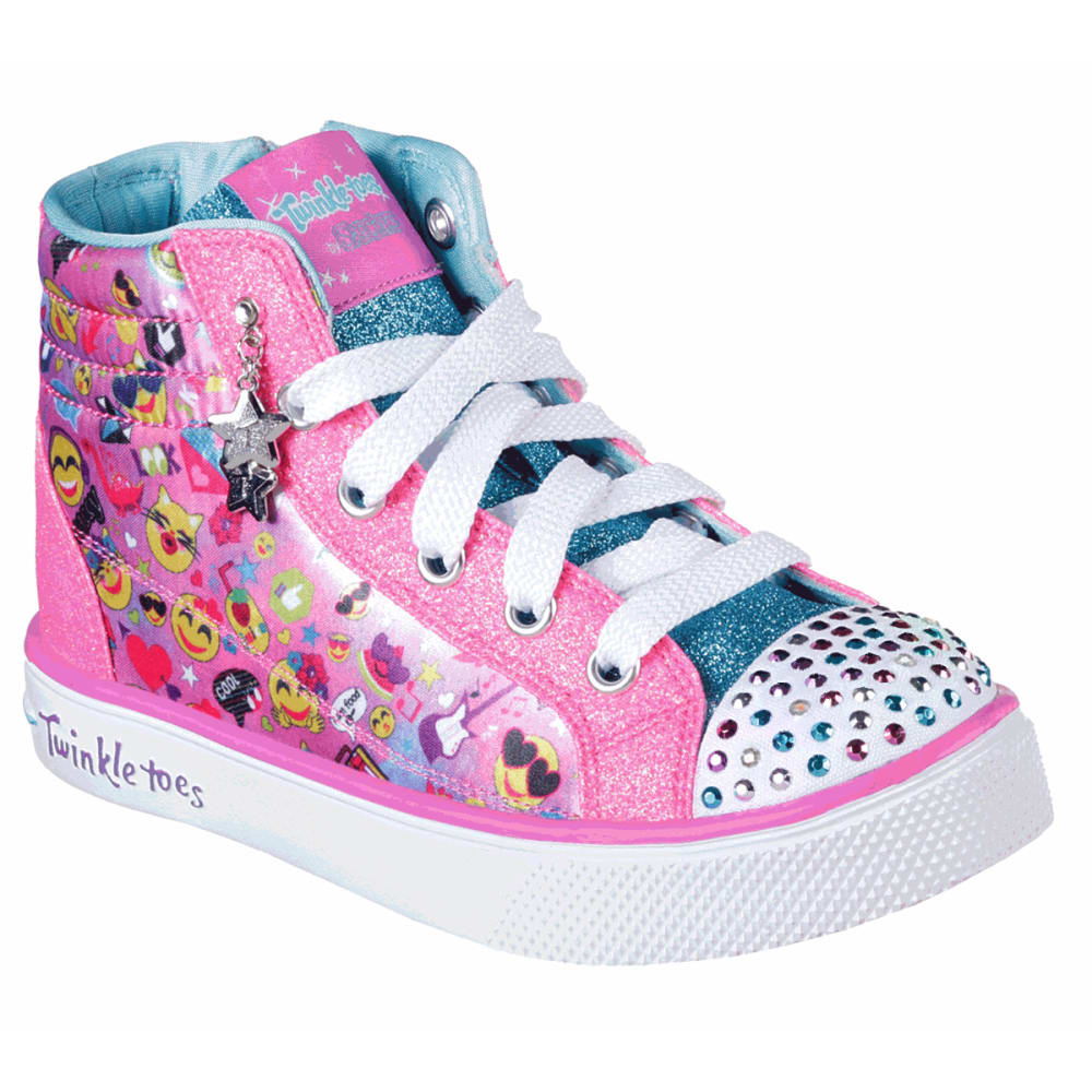 SKECHERS Little Girls' Twinkle Toes: Twinkle Breeze 2.0 - Emoji Magic Sneakers - MULTI