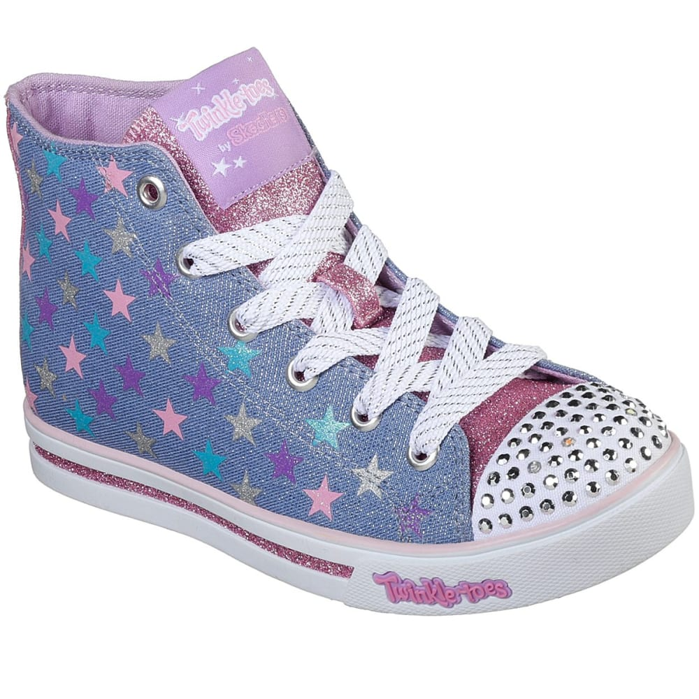 SKECHERS Girls' Twinkle Toes: Sparkle Glitz Shiny Starz Light-Up Sneakers - DENIM