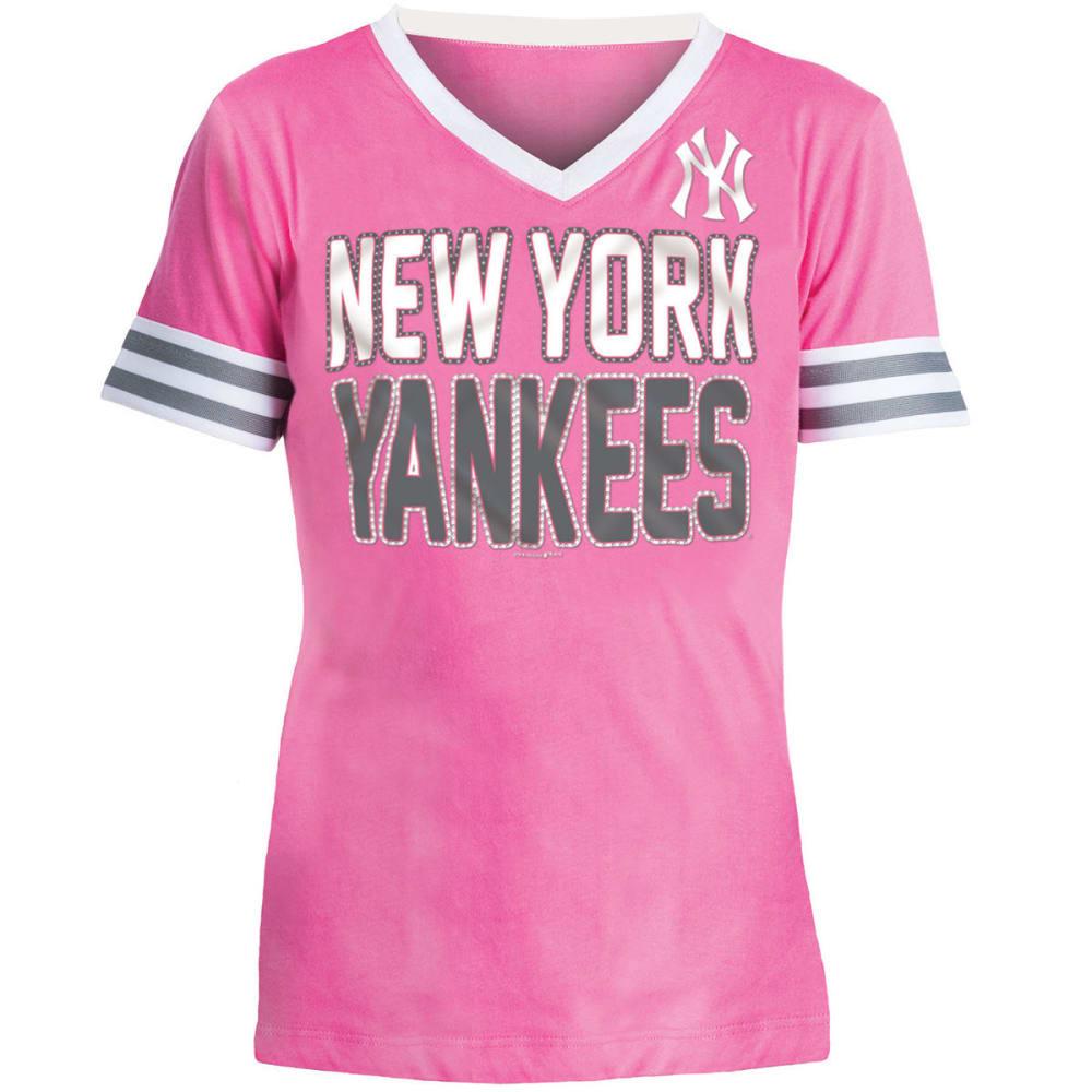 NEW YORK YANKEES Girls' Baby Jersey Rhinestone V-Neck Short-Sleeve Tee - PINK