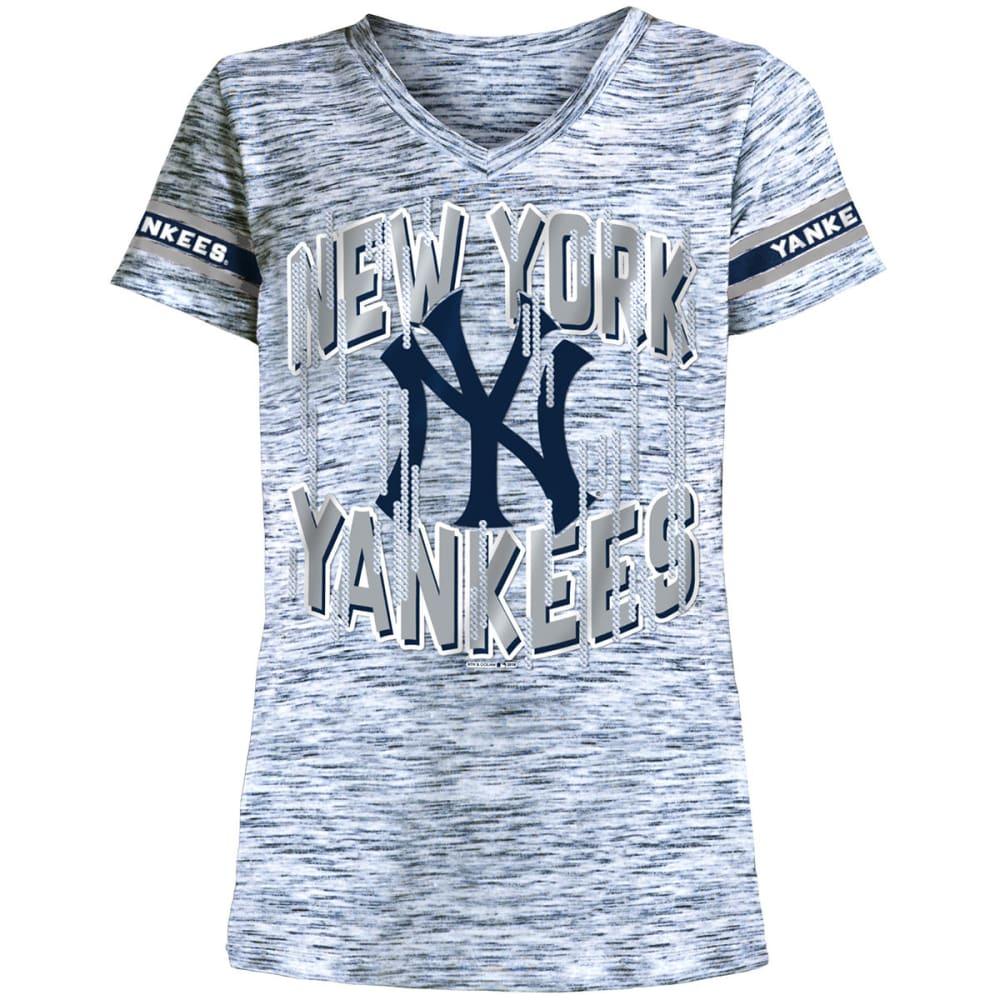 NEW YORK YANKEES Girls' Space-Dye Jersey V-Neck Short-Sleeve Tee - NAVY