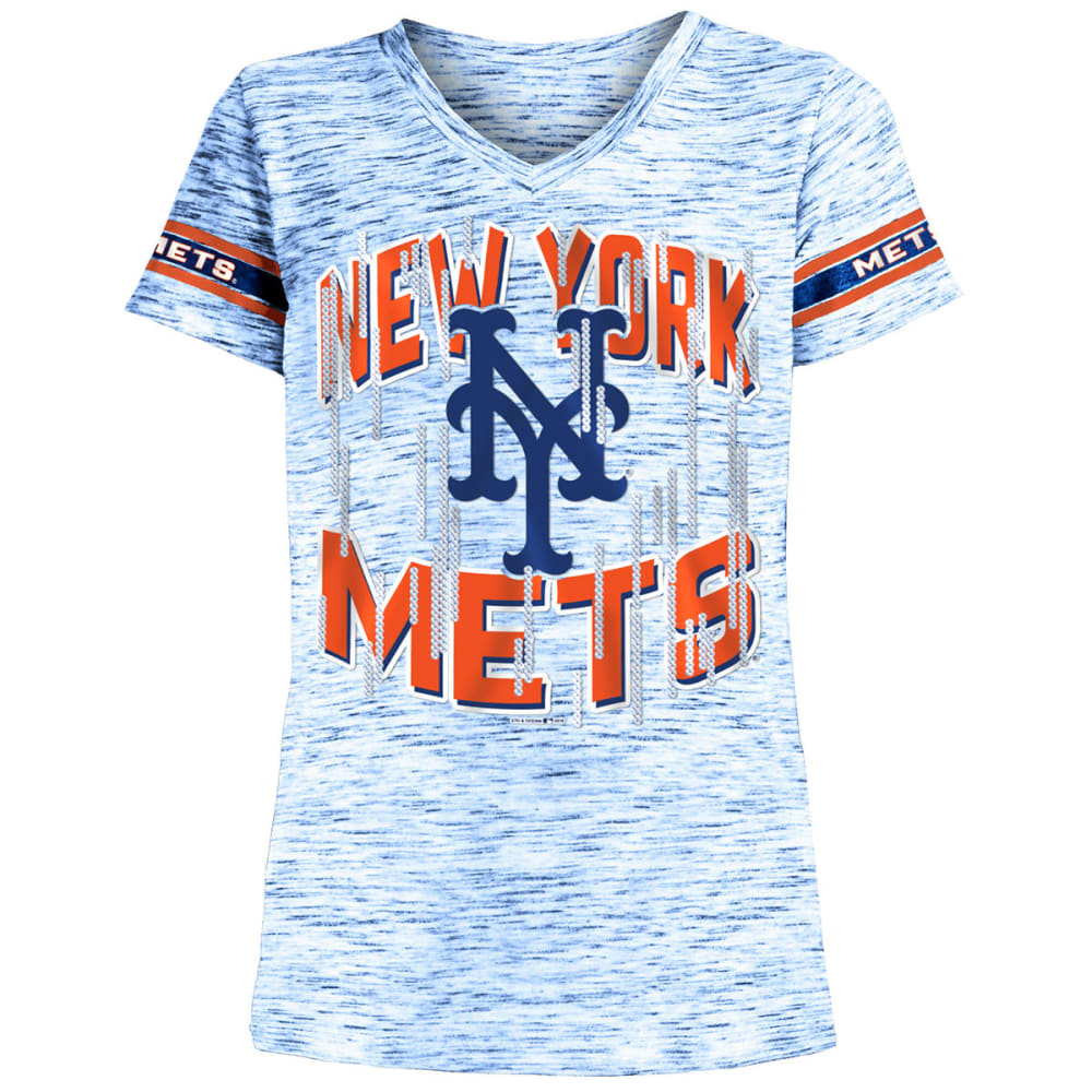 NEW YORK METS Girls' Space-Dye Jersey V-Neck Short-Sleeve Tee - ROYAL BLUE