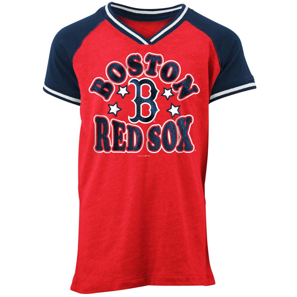 BOSTON RED SOX Big Girls' Tri-Blend V-Neck Raglan Short-Sleeve Tee - RED