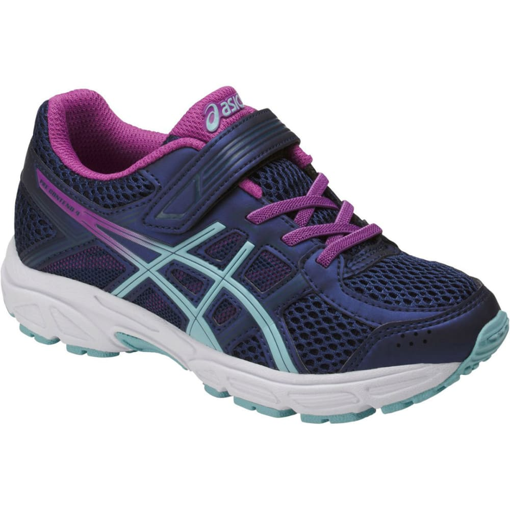 Asics Little Girls' Preschool Pre-Contend 4 Running Shoes - Blue, 2