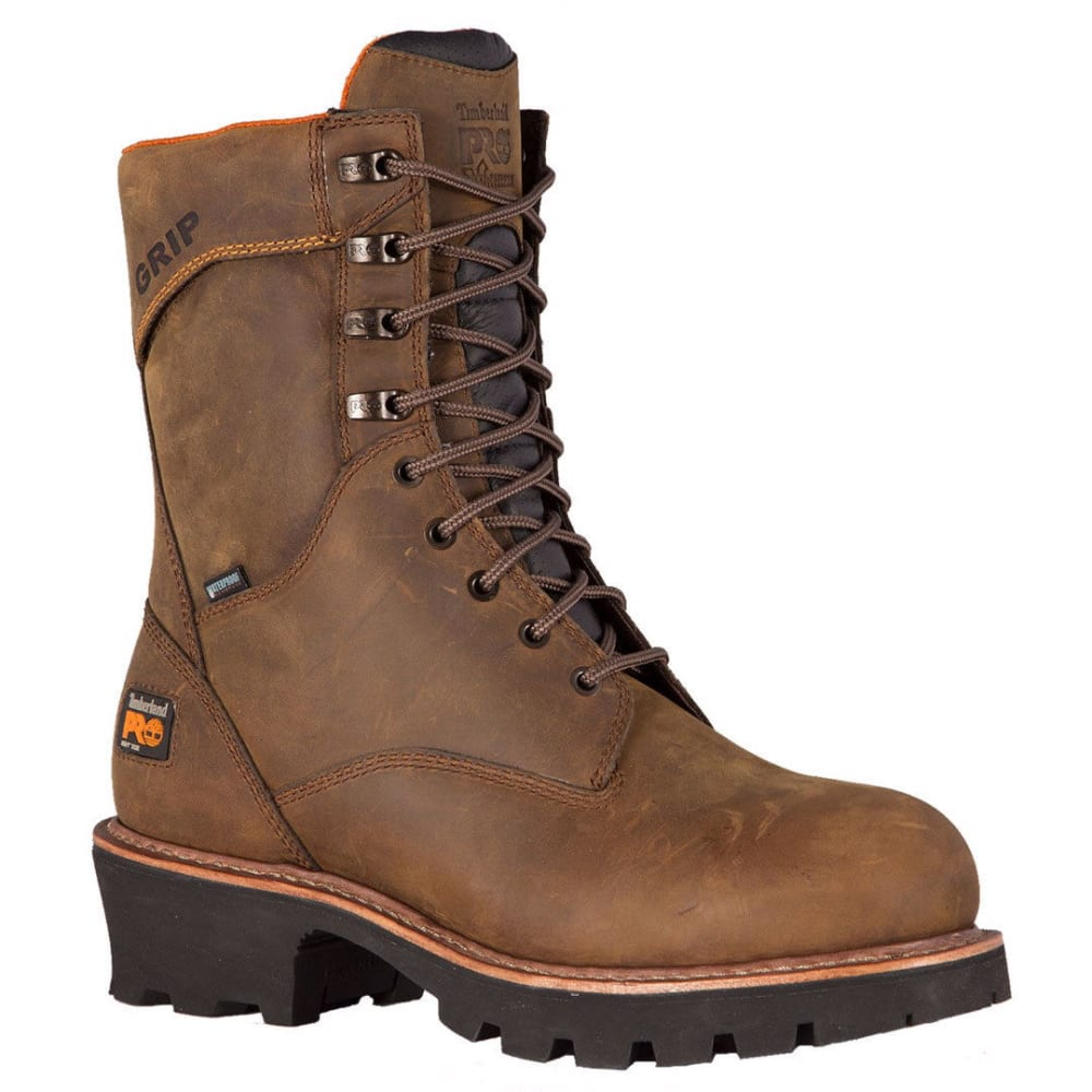 TIMBERLAND PRO Men's Rip Saw 9-Inch Soft Toe Logger Boots - MED BROWN