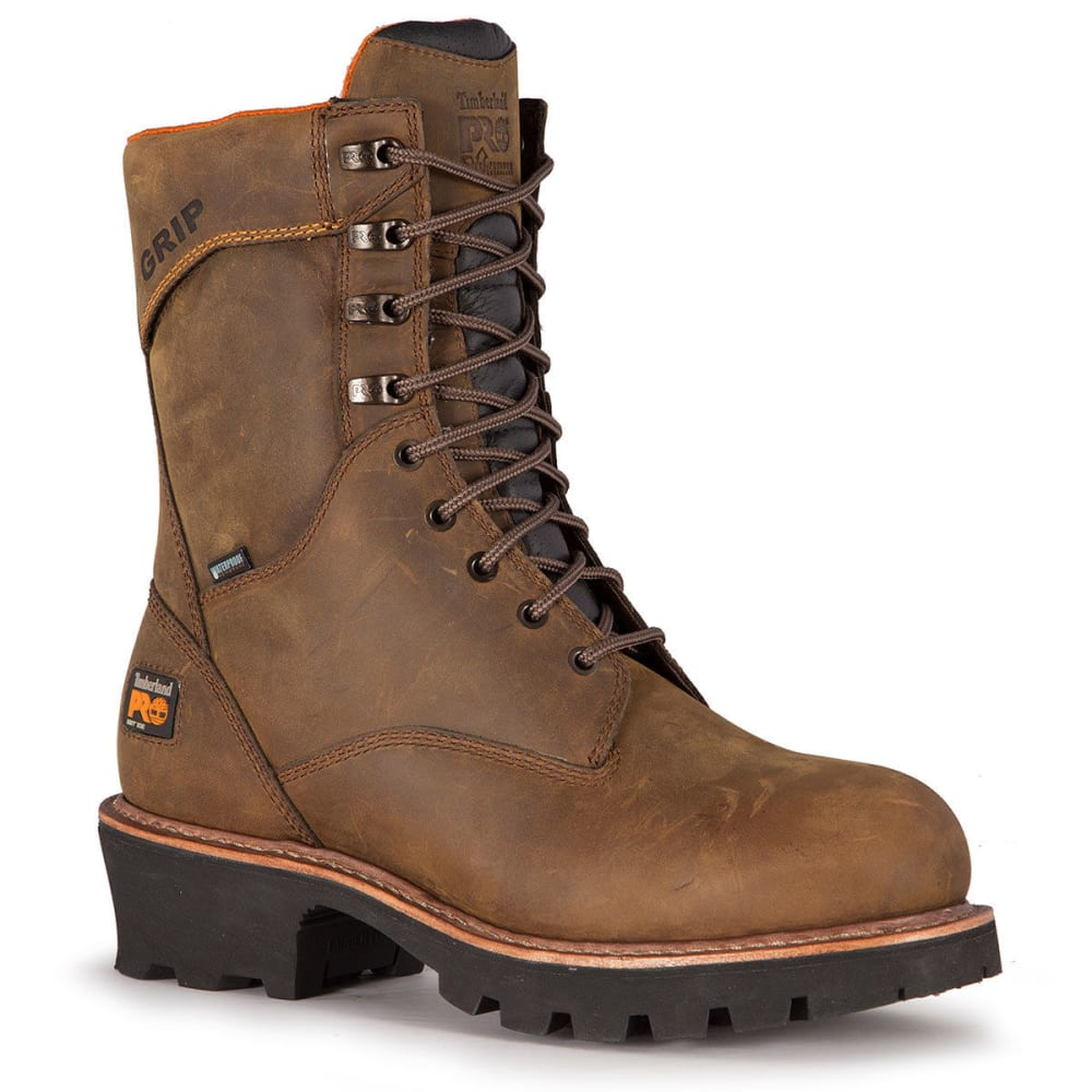TIMBERLAND PRO Men's 9 in. Rip Saw Waterproof Insulated Logger Boots, Medium Brown - MED BROWN
