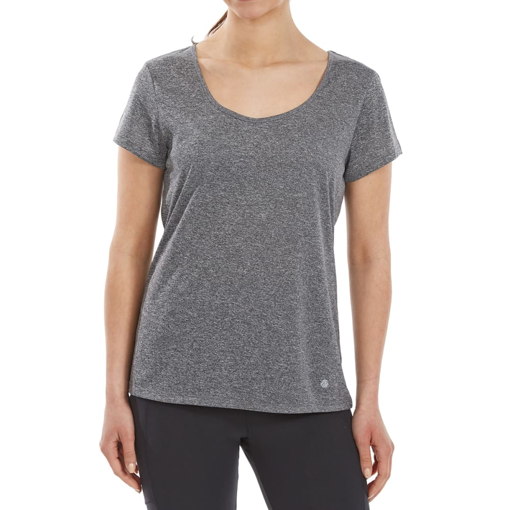 BALLY Women's Cage-Back Short-Sleeve Tee - HTR CHARCOAL-648