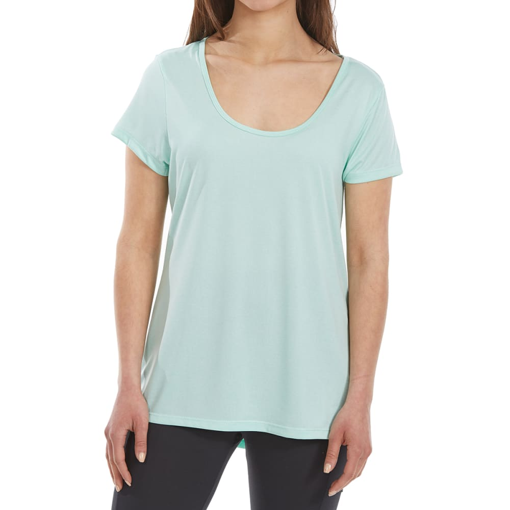 BALLY Women's Cage-Back Short-Sleeve Tee - HTR BEACH GLASS-683