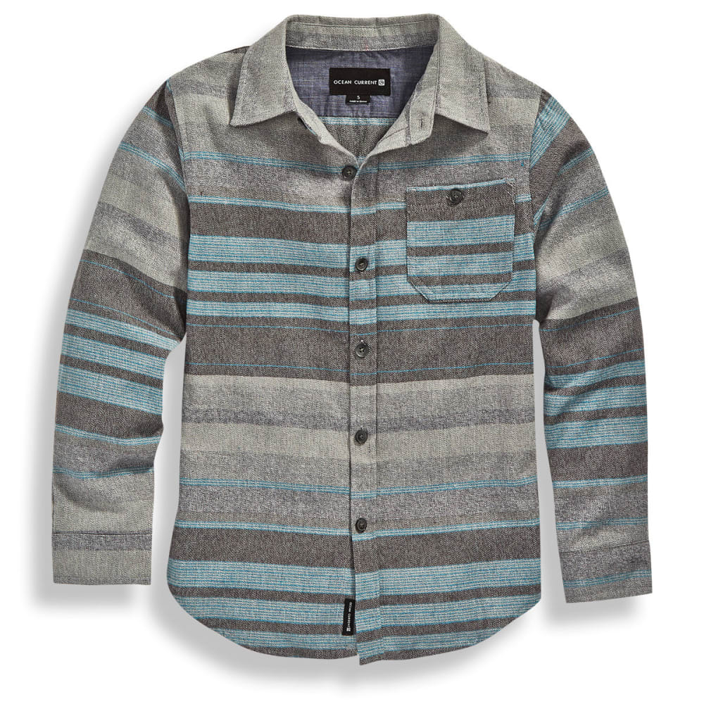 OCEAN CURRENT Big Boys' Attract Stripe Long-Sleeve Flannel Shirt - GREY