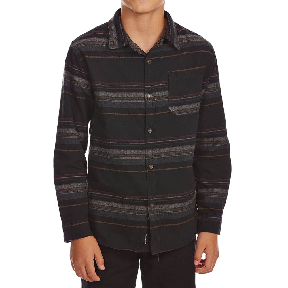 OCEAN CURRENT Big Boys' Urbane Striped Flannel Long-Sleeve Shirt - BLACK