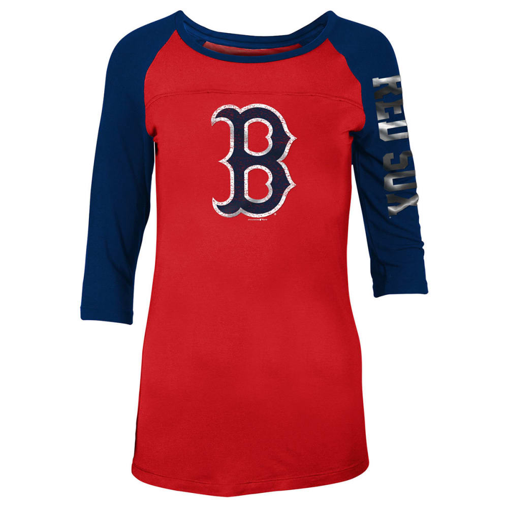 BOSTON RED SOX Women's Jersey Scoop Neck 3/4 Raglan Sleeve Tee - RED
