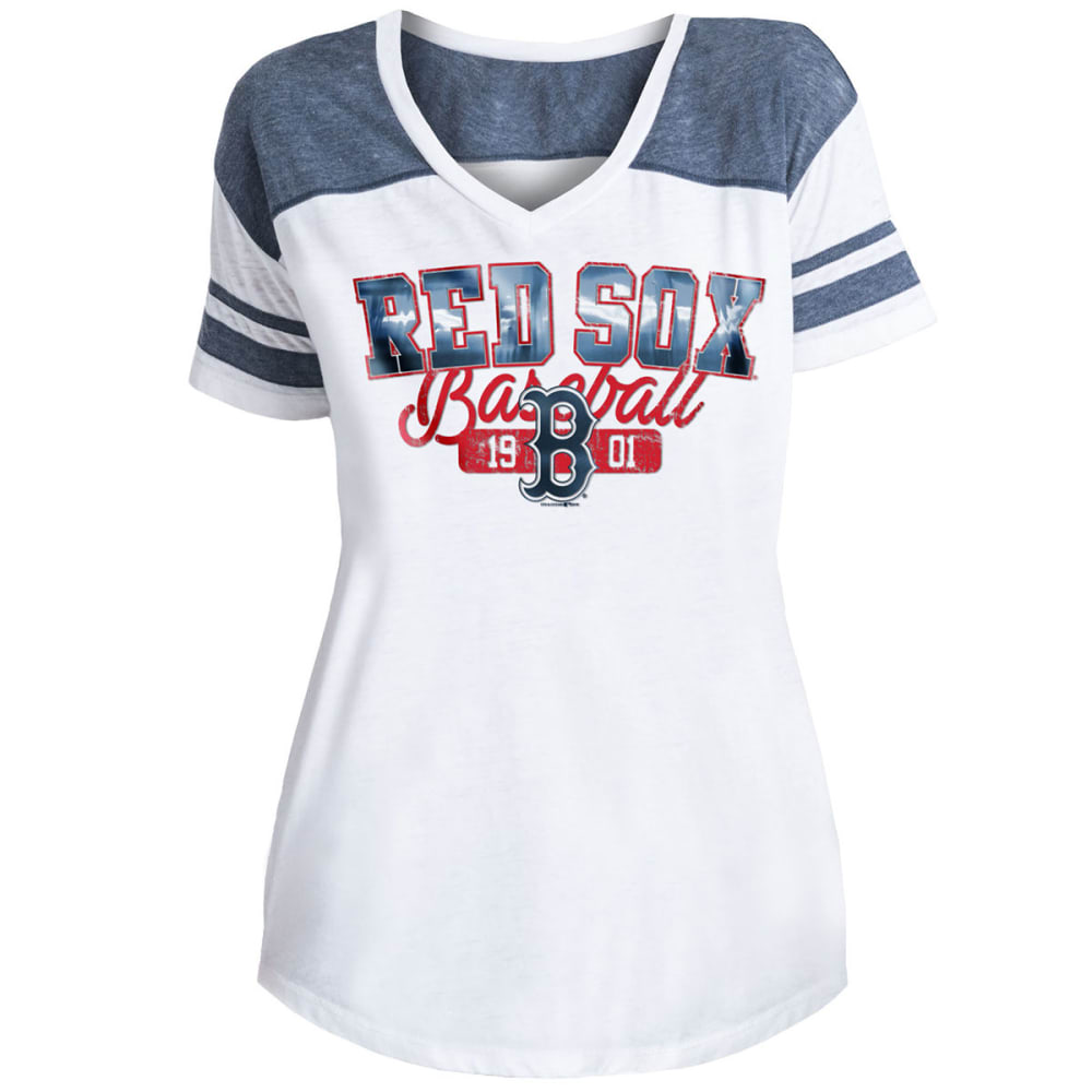 BOSTON RED SOX Women's Burnout Wash V-Neck Short-Sleeve Tee - WHITE