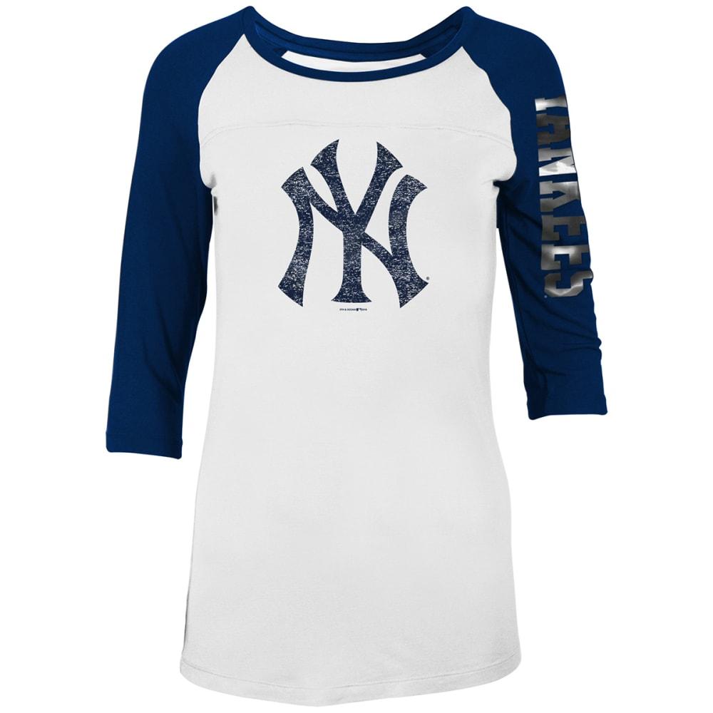 NEW YORK YANKEES Women's Jersey Scoop Neck 3/4 Raglan Sleeve Tee - WHITE