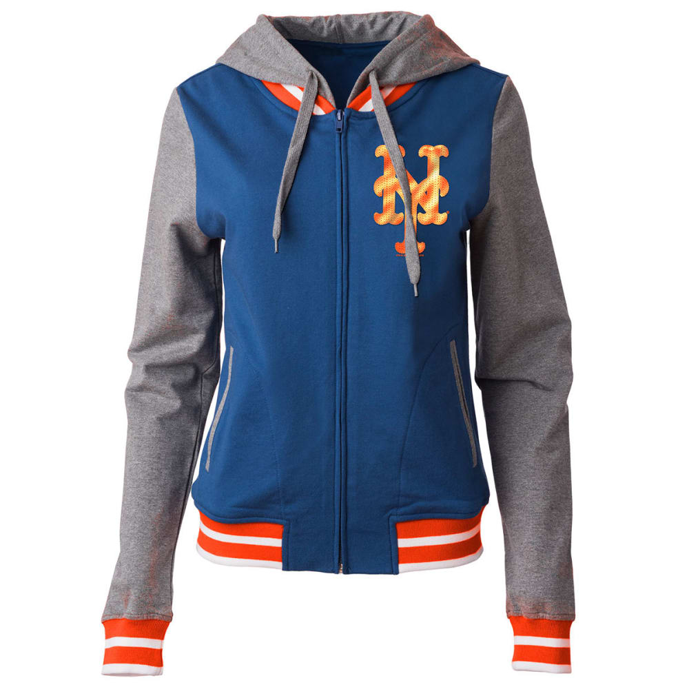 NEW YORK METS Women's French Terry Full-Zip Hoodie - GREY