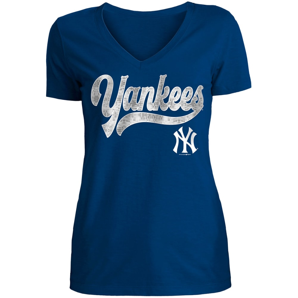 NEW YORK YANKEES Women's Slub Sequin V-Neck Short-Sleeve Top - NAVY