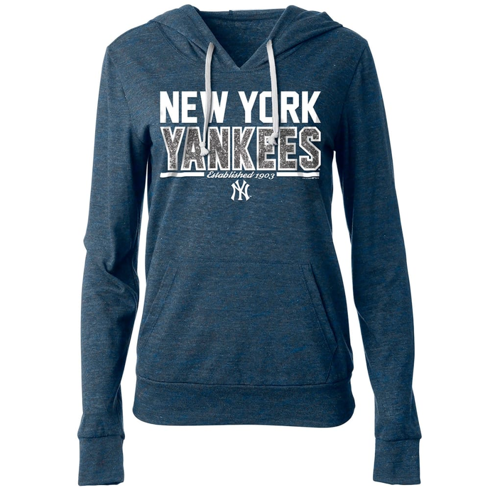 NEW YORK YANKEES Women's Lightweight Tri-Blend Pullover Hoodie - NAVY