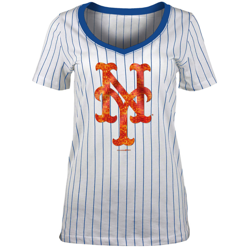 NEW YORK METS Women's Pinstripe Sequin Short-Sleeve Tee - WHITE