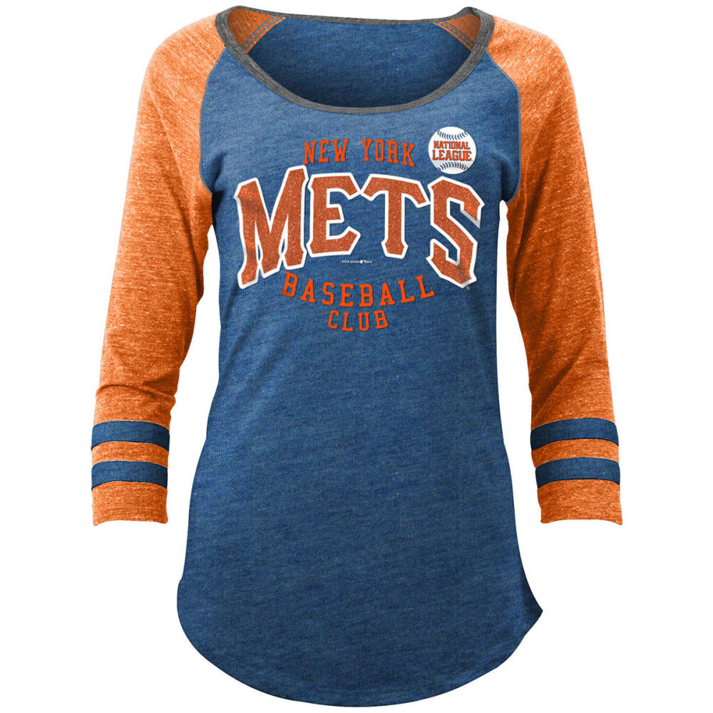 NEW YORK METS Women's Tri-Blend Scoop-Neck Raglan 3/4 Sleeve Tee S