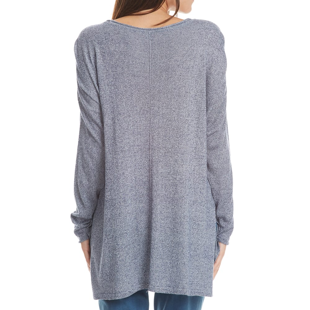 THYME & HONEY Women's Marled Drop Shoulder Long-Sleeve Sweater - NEW NAVY/WHT MARL