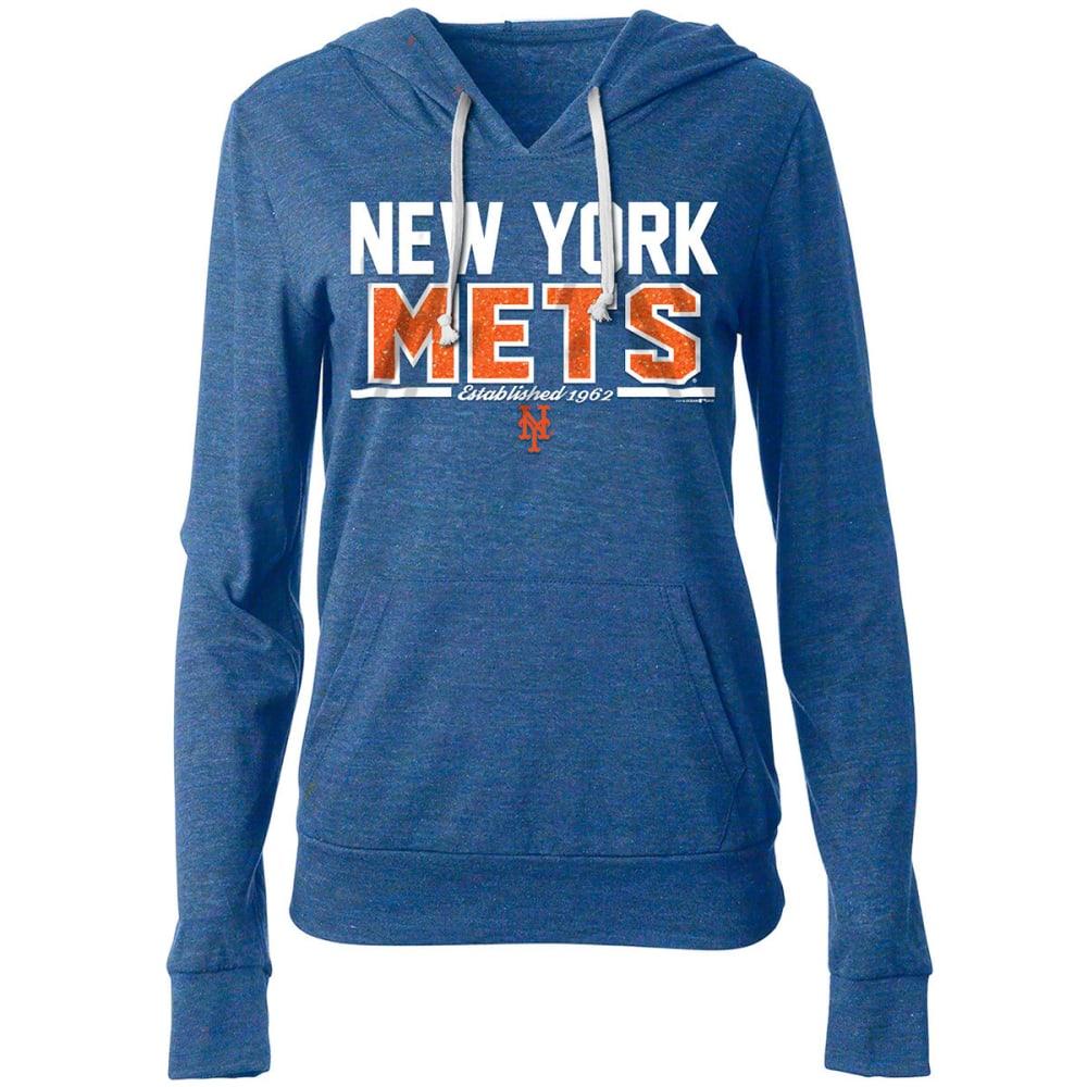 NEW YORK METS Women's Lightweight Tri-Blend Pullover Hoodie - ROYAL BLUE