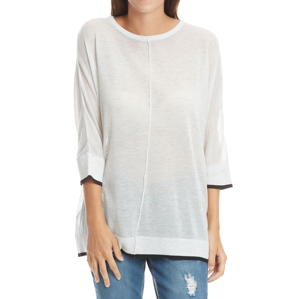 THYME & HONEY Women's Dolman Long-Sleeve Sweater with Contrast Tips - WHITE HTHR
