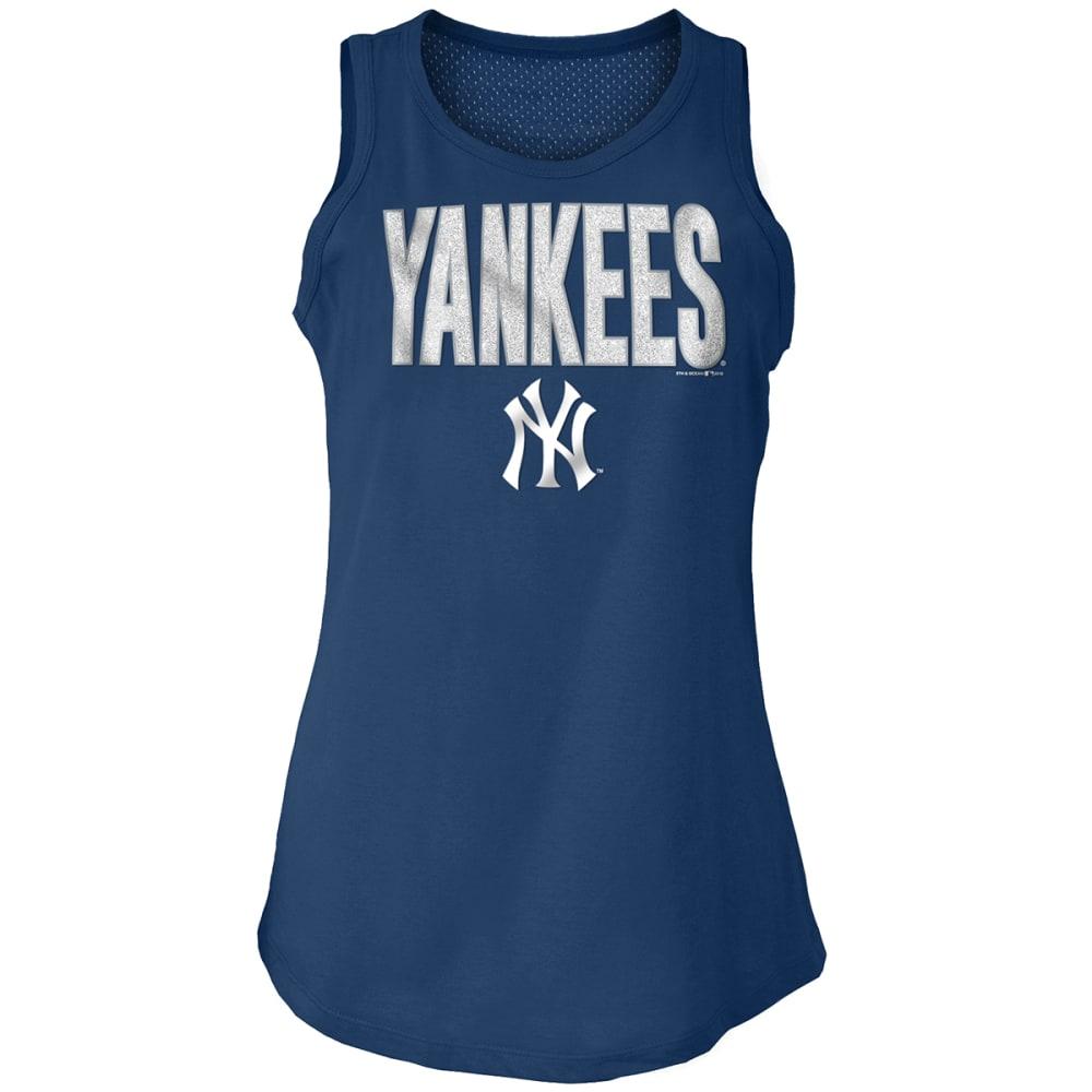 NEW YORK YANKEES Women's Baby Jersey Glitter Mesh Back Tank Top - NAVY