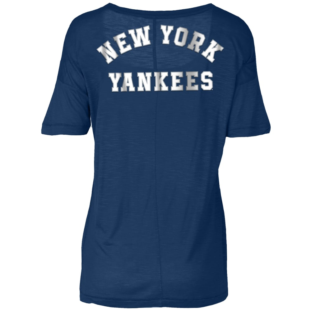 NEW YORK YANKEES Women's Baby Jersey Slub Scoop Neck Long-Sleeve Tee - NAVY