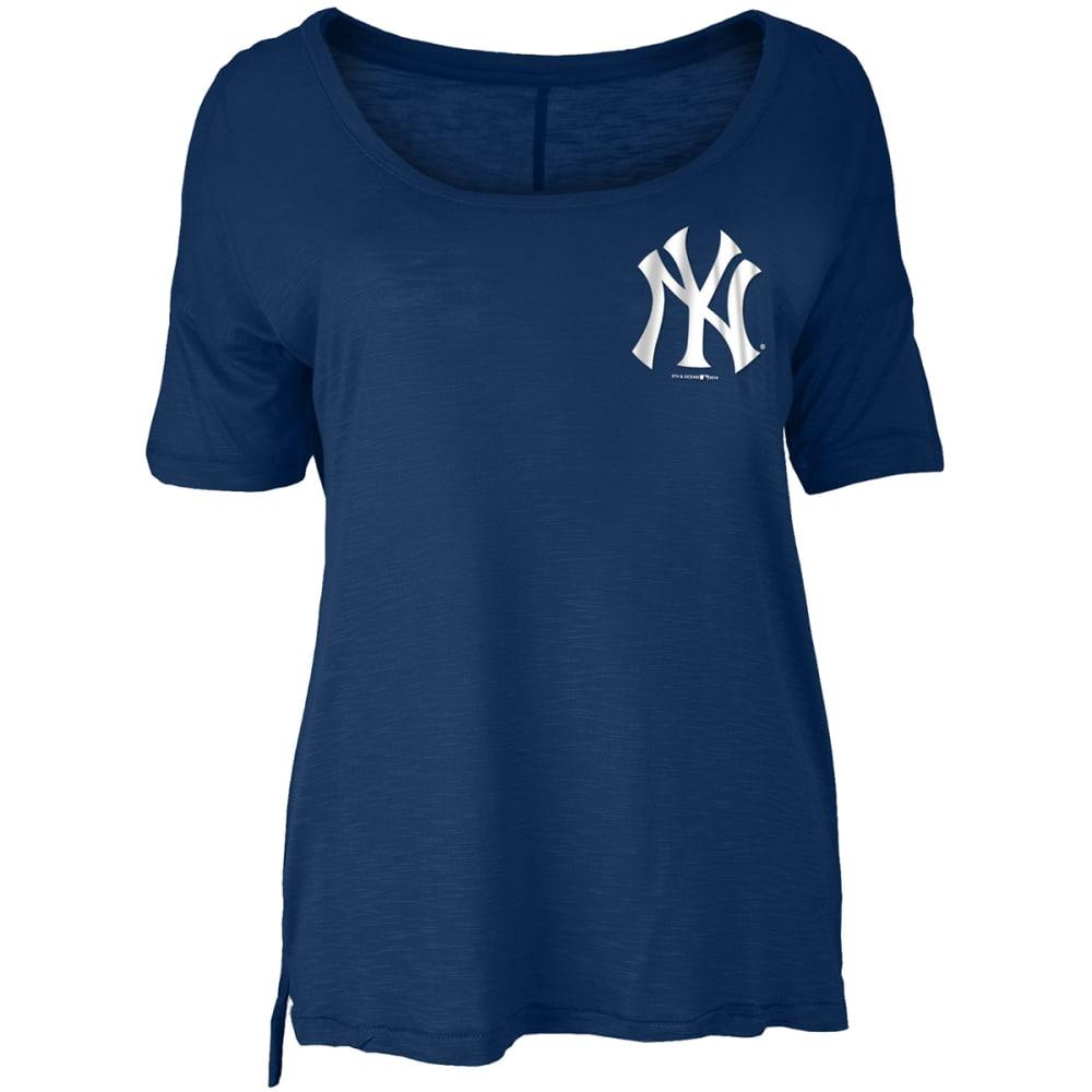 NEW YORK YANKEES Women's Baby Jersey Slub Scoop Neck Long-Sleeve Tee S